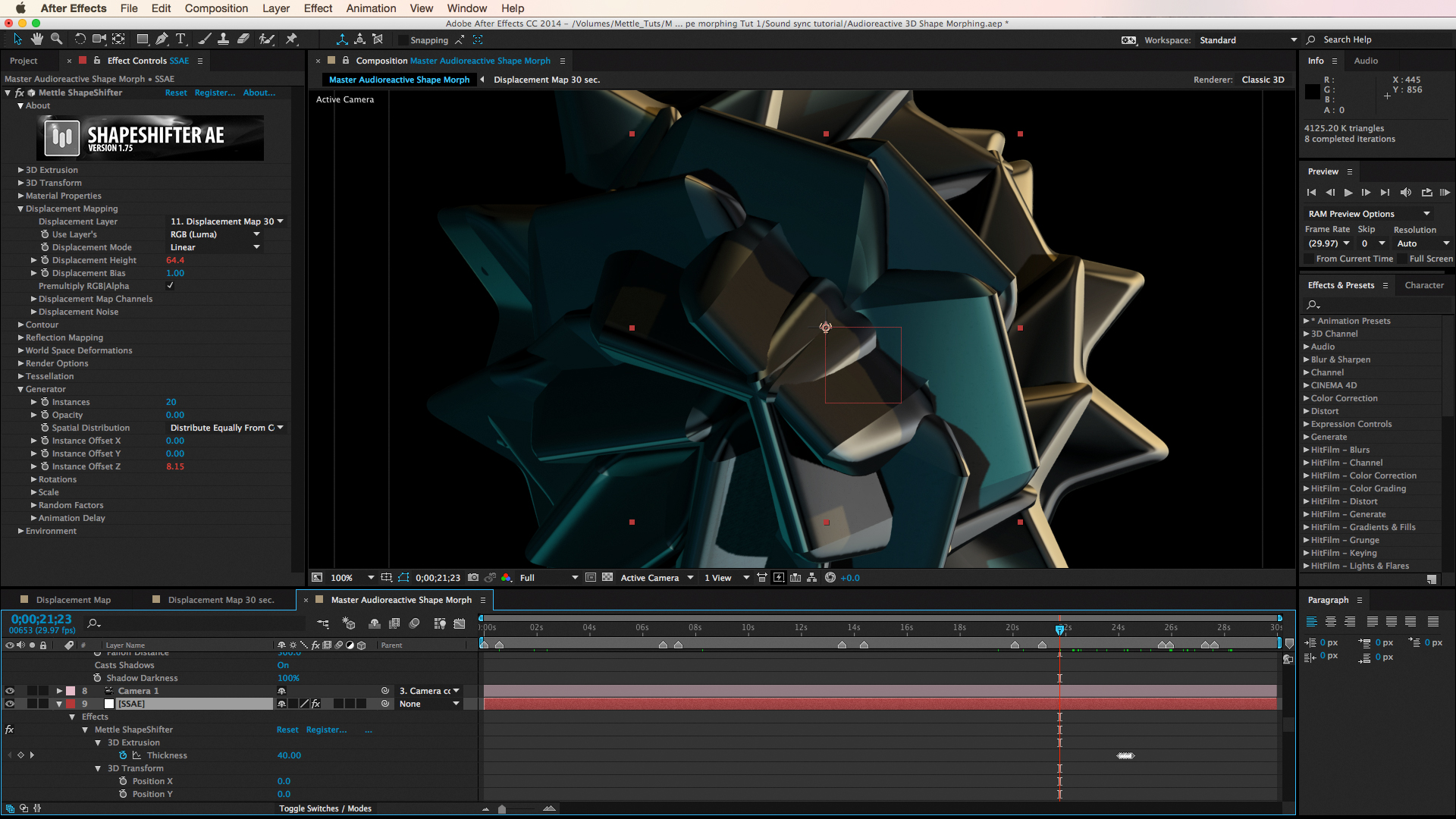 tutorial  audioreactive 3d shape morphing in after effects