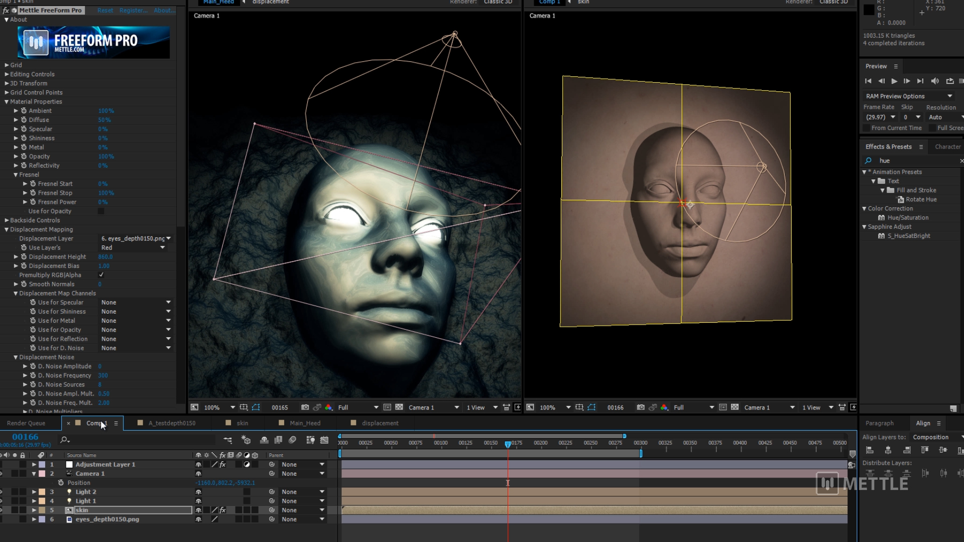 Create a Displacement Map in C4D To Use in After Effects with FreeForm Pro (0;07;50;01)
