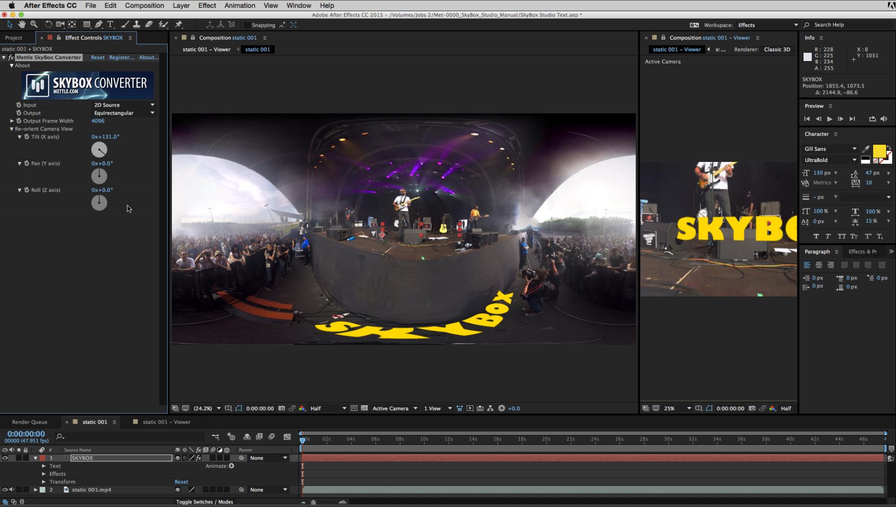 2D text in SkyBox Studio