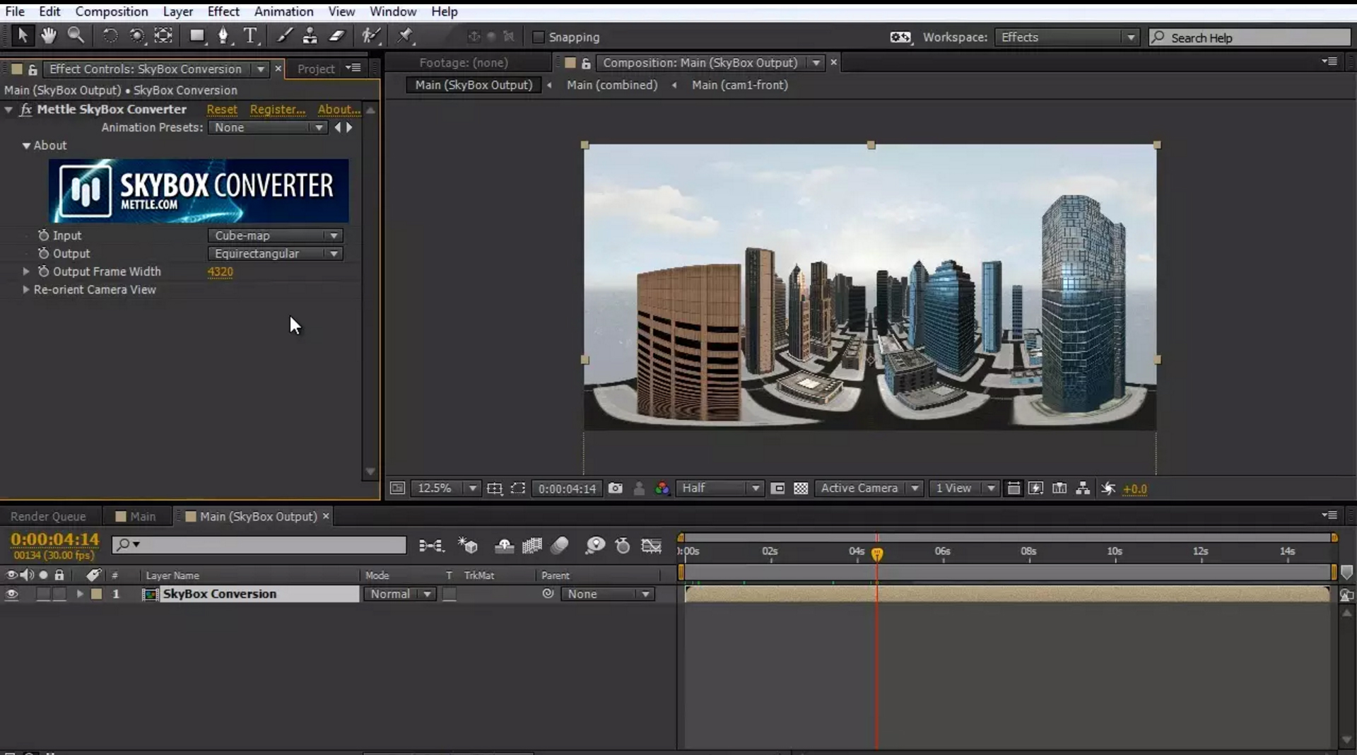 After Effects 360 video SkyBox Studio