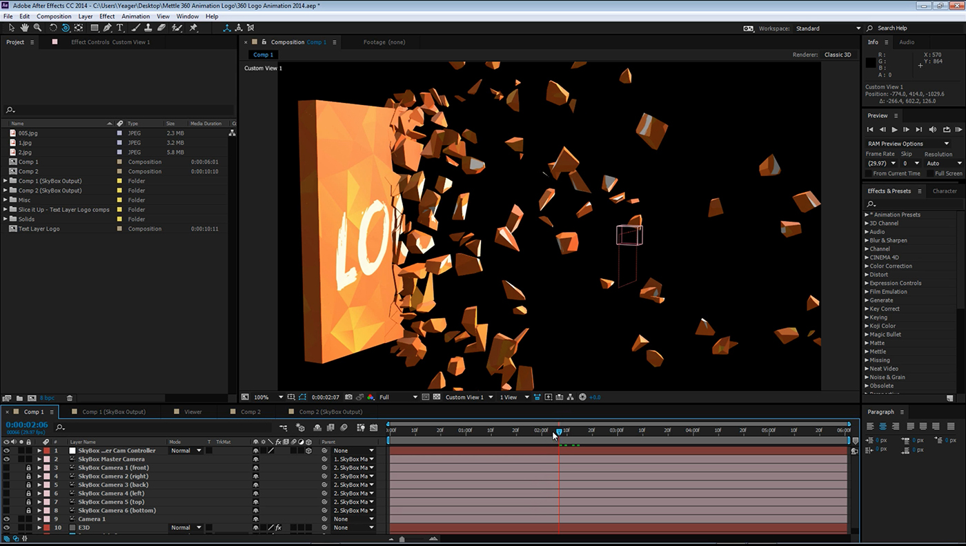 How to create a 360 logo animation in after effects mettle for Habitacion 3d after effects