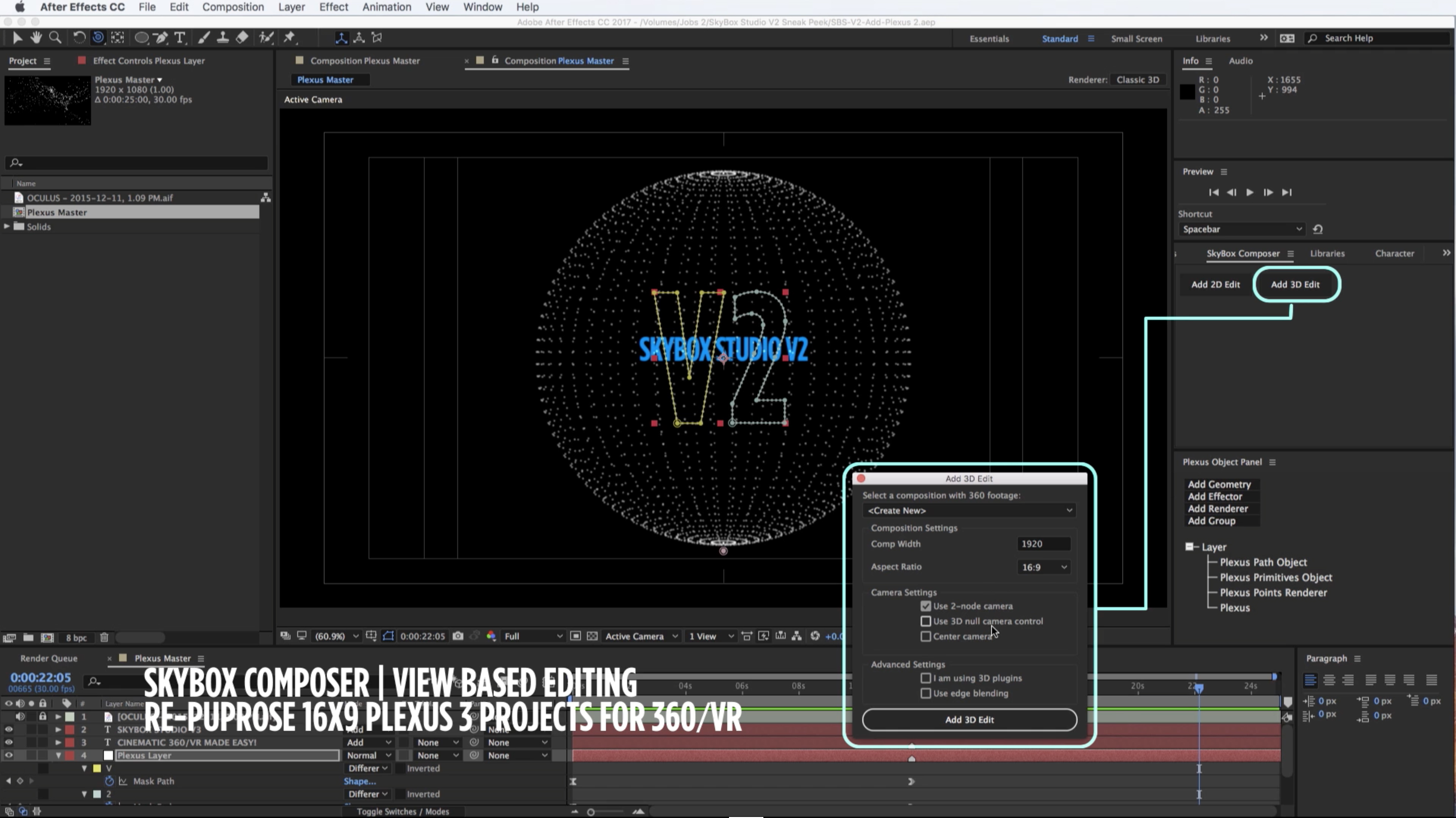 How To Create A 360 Video With Plexus 3 After Effects Skybox Studio V2 How  To