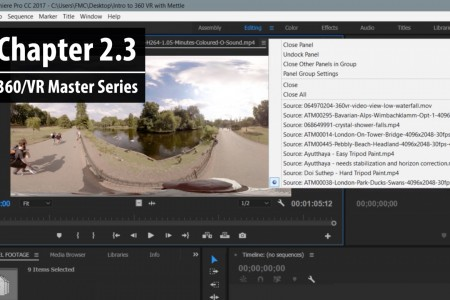 Chapter 2.3: Adding, viewing and editing 360 clips in the Source Monitor   360/VR Master Series