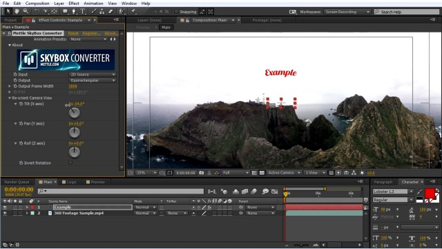 How to Add Text, Logo, and 2D video onto 360° Footage   Intro Level   SkyBox Studio