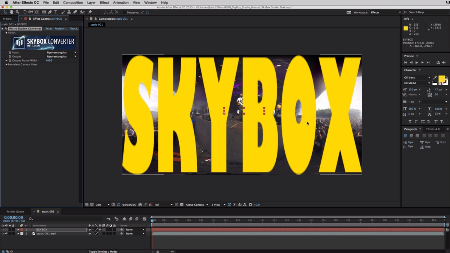 How To Add 2d Text To 360 Footage With Skybox Studio In After Effects