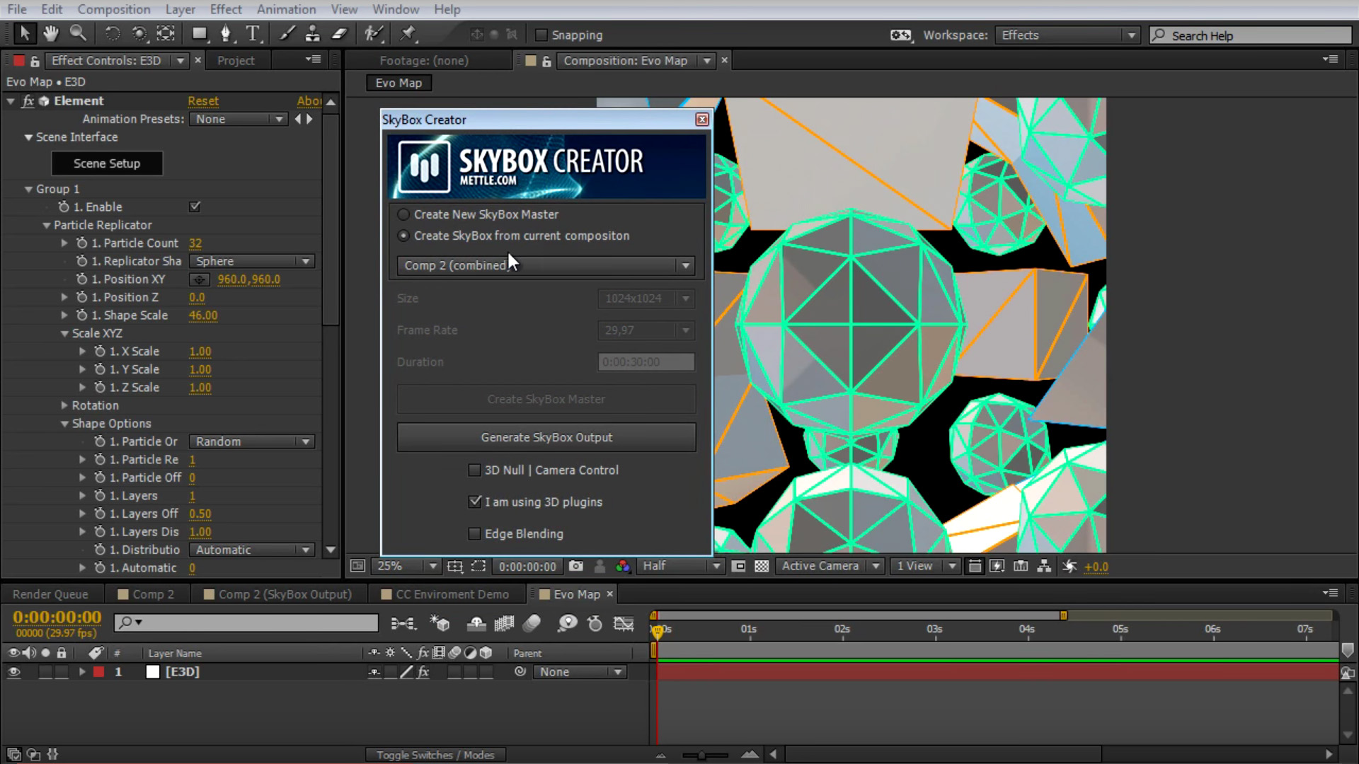 how to create an 8k environment map in after effects   skybox   mettle