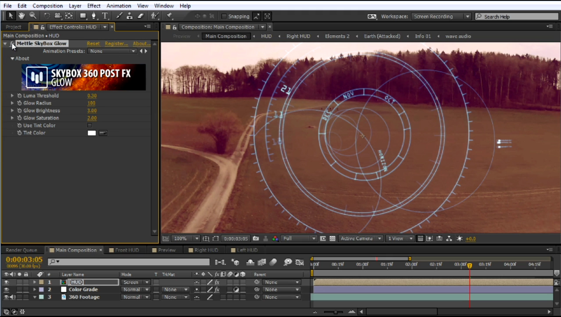 HUD onto 360 footage SkyBox Studio 13