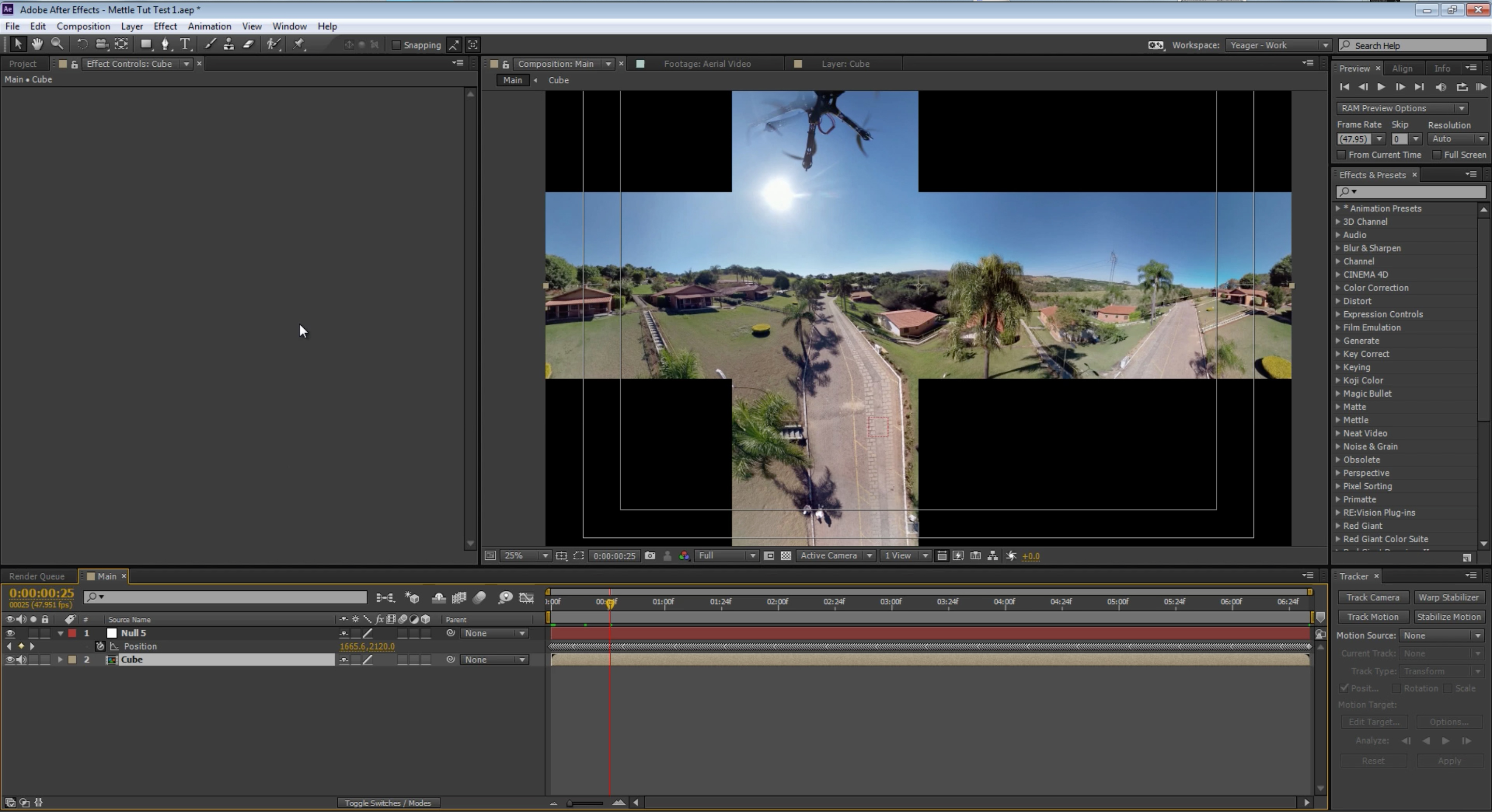 Cubic Cross 360 Drone Stabilisation in After Effects