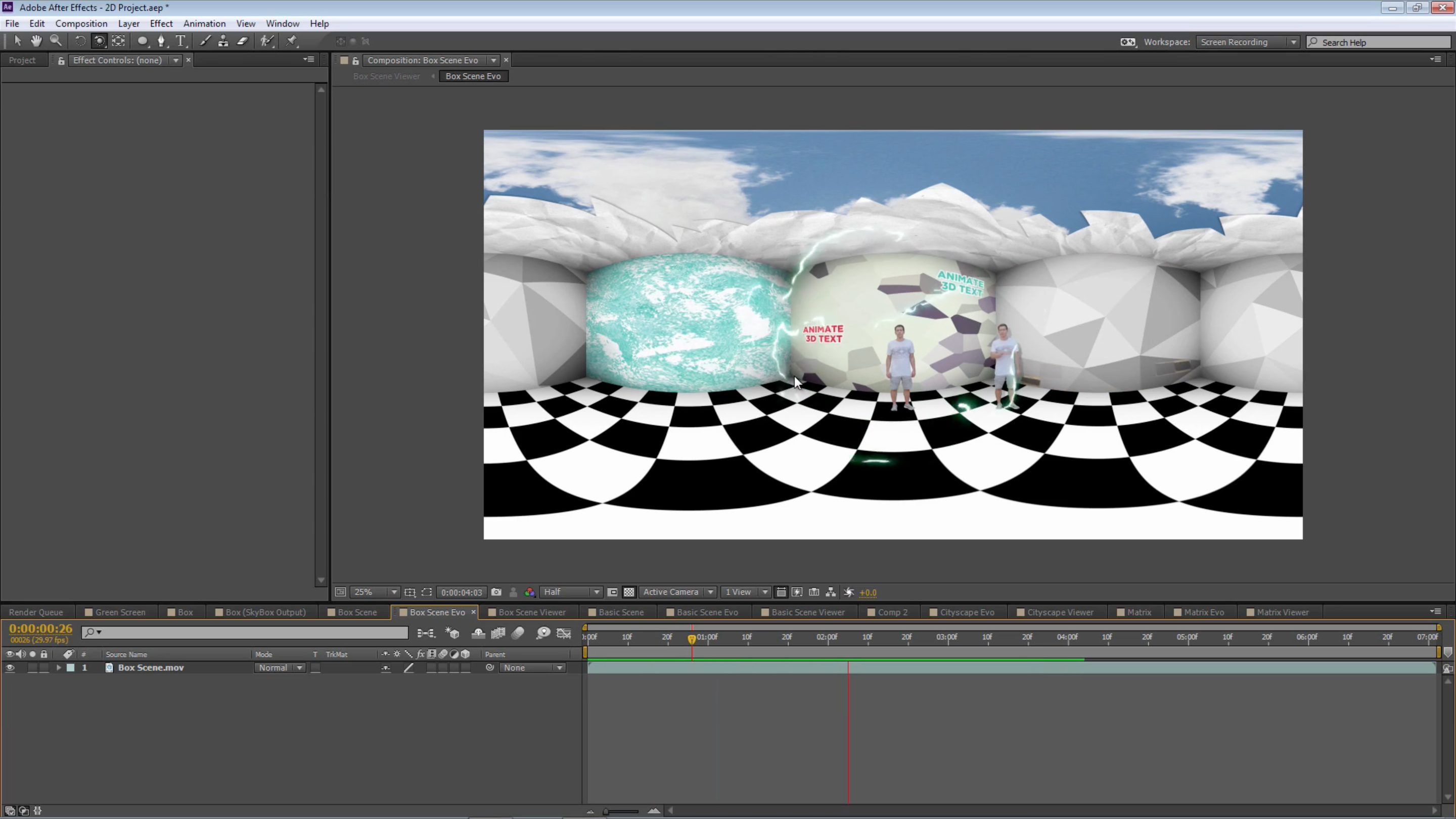 Equirectangular layout 360 video from 2D assets