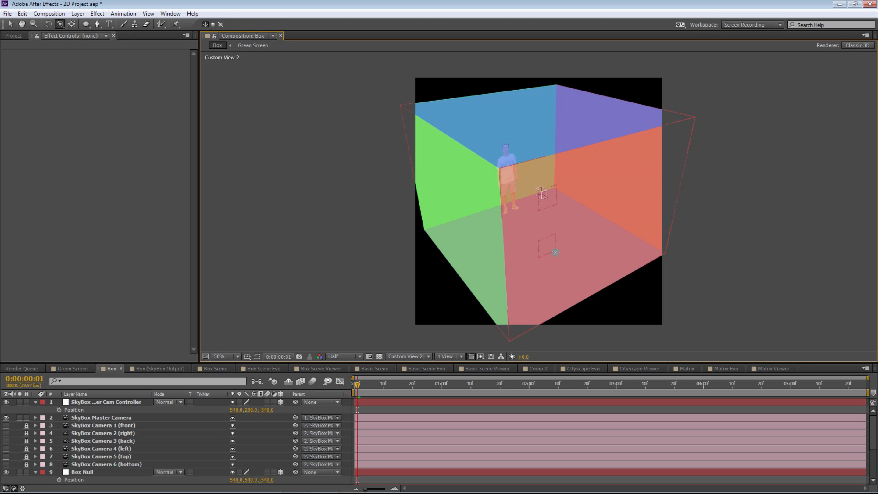 How to make a 360 video using 2d footage after effects mettle charles breaks down his technique using a multi colored 360 cubescene baditri Images