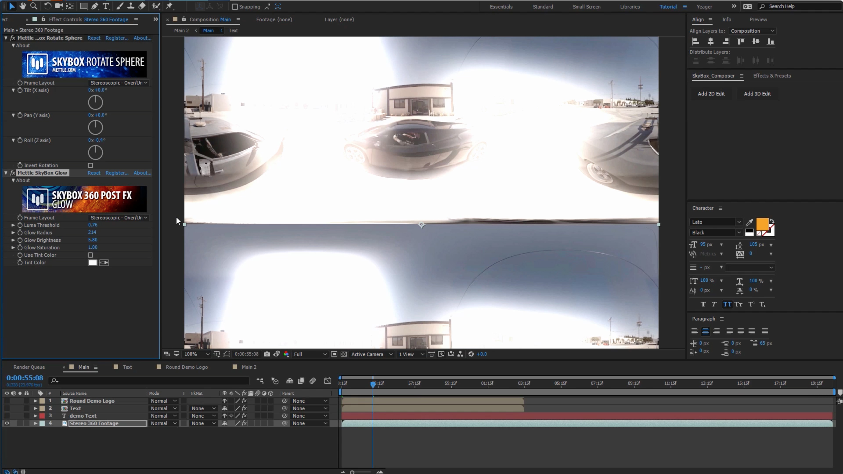 Stereo support SkyBox Studio V2 and Post FX Glow