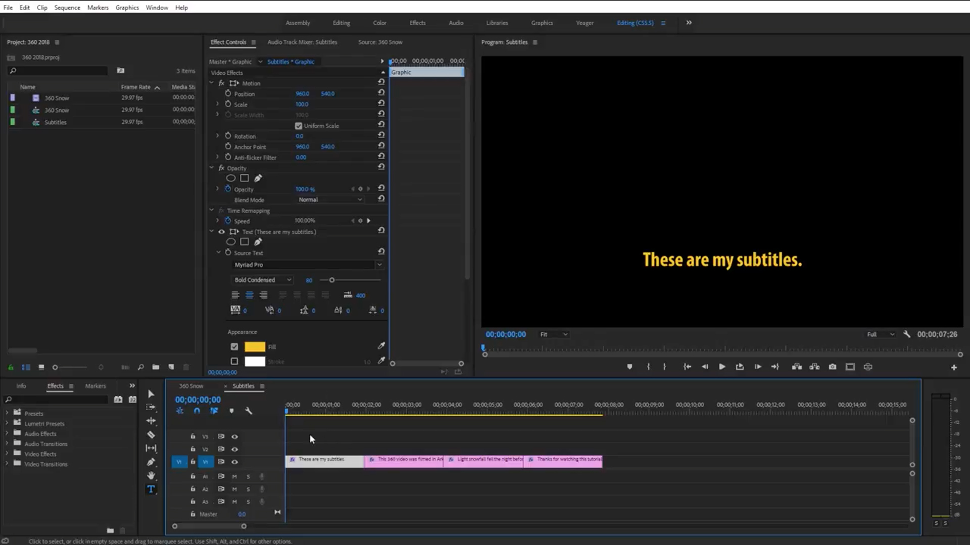 How to Add Subtitles to a 360 Video in Premiere Pro | CC