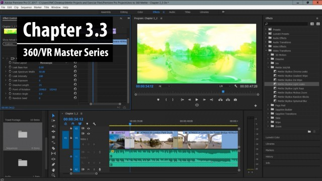 Chapter 3.3: Working with Mettle SkyBox 360/VR Transitions for Premiere Pro   360/VR Master Series