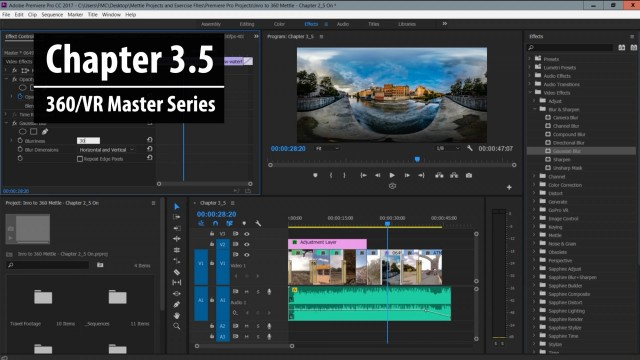 Chapter 3.5: 2D vs. 360 Post FX in Premiere Pro | 360/VR Master Series