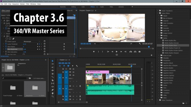 Chapter 3.6: Working with 360 Post FX in SkyBox 360/VR Tools in Premiere Pro   360/VR Master Series