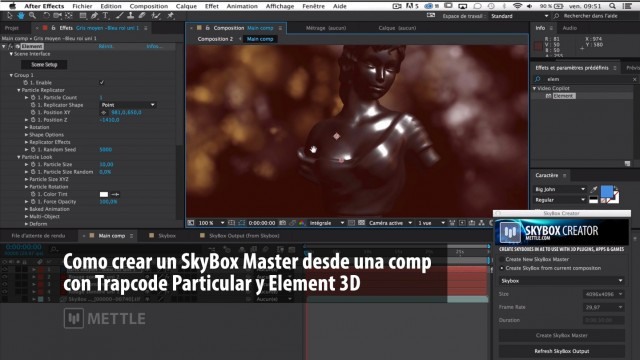 How to Create 360 Video in After Effects with Trapcode Particular and Element 3D | SkyBox | English-French-Spanish