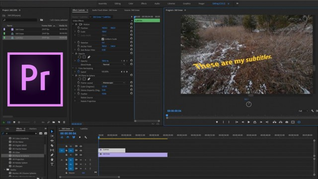 How to Add Subtitles to a 360 Video in Premiere Pro | CC 2018 and Mantra VR